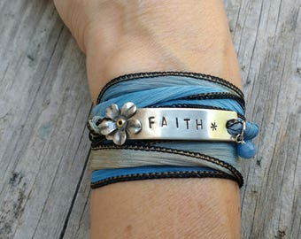 Handstamped Faith Boho Wrap Bracelet, Boho Chic Silk Ribbon Wrap, Personalized Bracelet