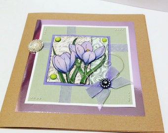 Handmade card, 3d Card, Flowers, Crocus, Blank, Stamped, Decoupaged, Kraft, 8x8 Large Card, All Occasions Card, Birthday, Sympathy, Easter
