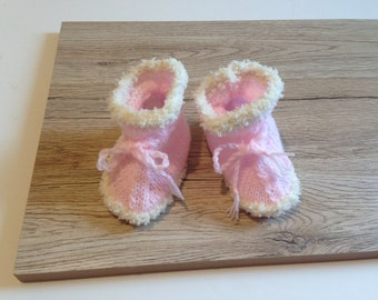 Knitted Baby Booties, Baby Boots, Handknitted SnUGGLY Boots,3-6months, Baby Couture, Hand Knit Baby boots for Baby