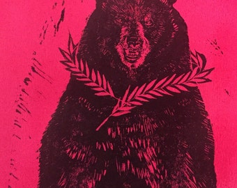 Big King Bear lino block print