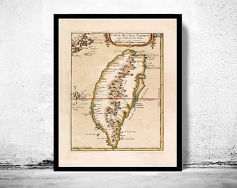 Vintage Map of Taiwan 1763