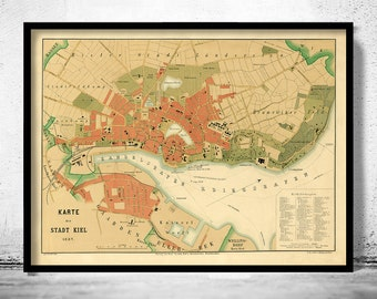Old Map of Kiel Germany 1887
