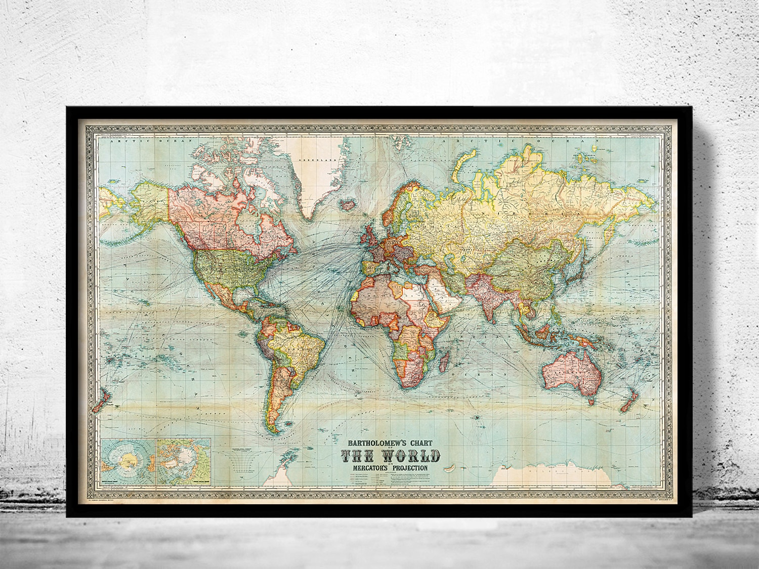 Beautiful World Map Vintage Atlas Mercator Projection - World map for sale