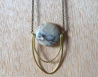 Handmade Brass Pendant Necklace Jewelry African White Opal 2 Ring Lunar