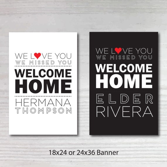 Printable Welcome Home Sign: Printable Personalized Welcome Home Return Missionary Poster