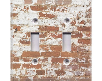 Country Rustic - Brick Double Light Switch Cover