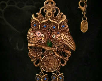Steampunk hooters Family owl pendant necklace