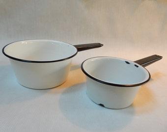 Two Enamelware Sauce Pots