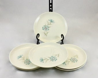 Set of Mid-Century Taylor Smith Taylor Ever Yours, Boutonniere Pattern Bread/ Salad Plates