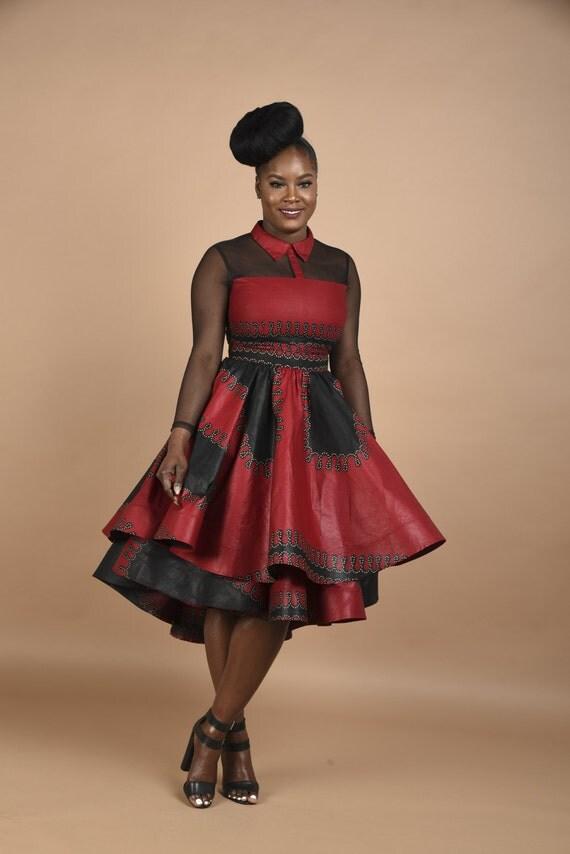 Rahyma Burgundy Mesh dress