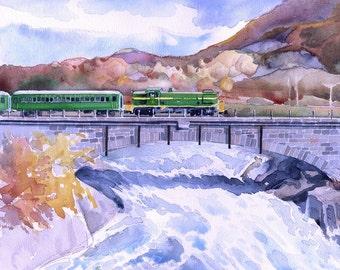 Vermont autumn drama. Green Mountain Flyer on Bellows Falls Bridge. Matted art prints, notecards of original watercolor.