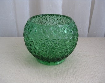 Vintage Mid Century Daisy and Button Emerald Green Glass Candle Holder Bowl LG Wright