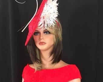 Kentucky Derby red hat.  Derby hat, Derby fascinator, Couture hat, Royal Ascot red fascinator. Red Fascinator for church, wedding, races