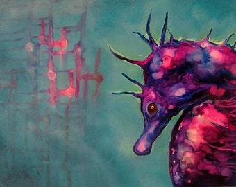 Seahorses , Seahorse Painting , Seahorse Art , Ocean Life , Colorful Seahorse, Dreaming In The Deep