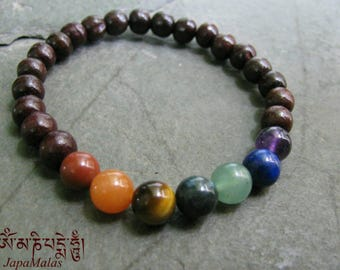 Rosewood Chakra Bracelet Mala bead purified & blessed mala