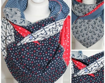 Scarf with anchors, flowers and dots, red blue grey, turn of cloth from cotton Jersey, shawl for women, accessories, handmade cloth