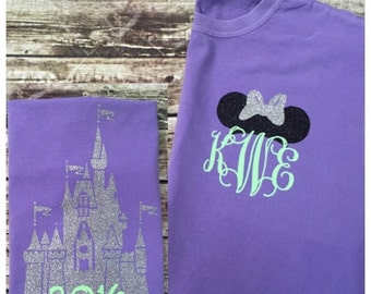 Castle Disney Tank - Minnie Ears Monogram - Periwinkle and Neon Green Glitter Vinyl - Comfort Color - Disney Shirt - Castle Monogr