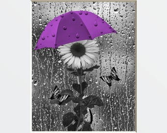 Purple Bathroom/Powder Room Wall Picture, Sunflower/Butterflies, Purple Gray Home Decor Matted Wall Art