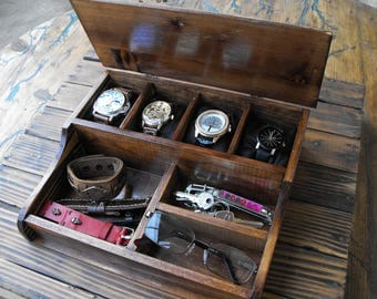 gift watch box menu0027s valet wooden watch box holds watches watch straps and wallet boite
