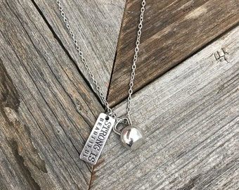 Stong Is Beautiful Pendant -- Crossfit Necklace -- Kettlebell Charm-- Silver Kettlebell-- Workout Necklace-- Fitness Necklace