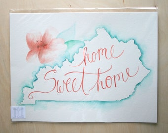 Home Sweet Home Kentucky Painting - Peach and Mint Flower