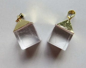 Quartz Crystal Cube Pendant with Golden Edge - B1555