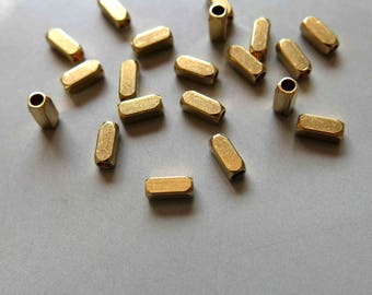 200pcs Raw Brass Rectangle With Rounded Corners Beads Spacer Beads 6x2.5mm - F370