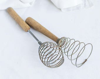 Vintage whisk_metal hand-whisk_retro kitchenware_spiral whisk_barrel cone_wooden handle_rustic home decor_old rusty cooking tool_egg beater