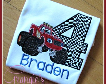 Personalized Monster Truck Blaze Birthday T-Shirt