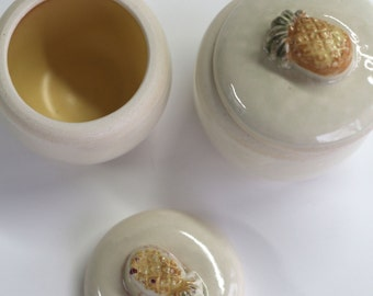 covered container and ceramic white / yellow , handmade