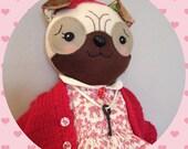 Amelie the Pug - Handmade Artist Doll