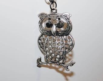 Retro Vintage Owl Pendant long necklace with Swarovski