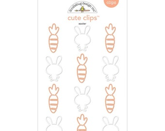 Planner Clips - Easter - Bunnies and Carrots - Doodlebug Cute Clips - Set of 12