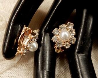 Petite Vintage Faux Pearl and Rhinestone Earrings