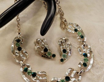 Vintage Shades of Green Rhinestone Necklace and Earrings