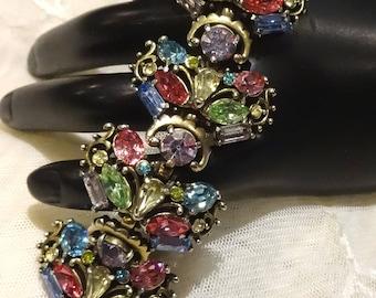 Gorgeous Wide Vintage 1953 Chunky Hollycraft Pastel Coloured Rhinestone Bracelet