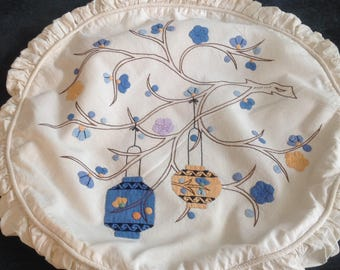 Vintage pillow, handworked applique of Chinese lanterns on a branch
