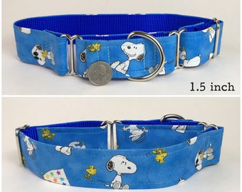 Blue Snoopy and Woodstock Peanuts dog collar