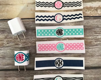 Personalized iPhone iPad iPod Charger Wrap Decal | Monogram or Initial | Star, Chevron, Solid, or Zebra Pattern | Two Colors | Vinyl Sticker