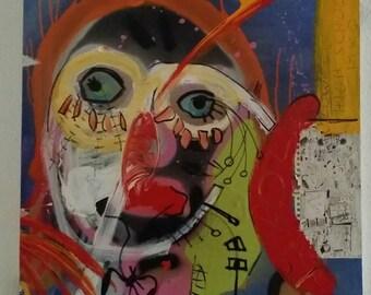 "Indrek Paul Kostabi "" Ripple effect "" mixed media materical  artwork, original, signed, with COA"