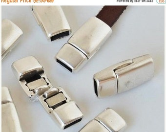 5mm flat leather magnetic clasp, Tapered Antique Silver Magnetic Clasps for jewelry supplies, ,