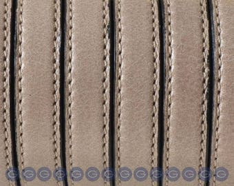 "Per 8"" Beige Double Stitched 10mm Flat leather for flat leather bracelets, supplies,"