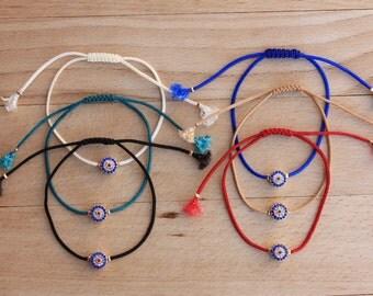 Wholesale  6 Pcs  Zirconia EvilEye  Bracelets -  Macrame String Bracelets - Adjustable Bracelets