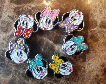 Minnie mouse floating slider charms (set of 7) for DIY jobs like hair ties, headbands, bracelets and more