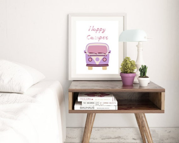 Happy Camper DIY Art Printable I Printable I VW Art I Camper Artwork I Gift I Birthday Gift I Home Decor I Office Decor I Watercolor I VW