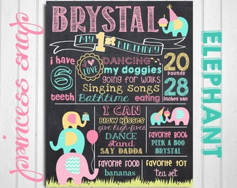 Elephant First Birthday Chalkboard, Elephant Party 1st Birthday Chalk board, Elephant Birthday Board Printable, Elephant 1st Birthday Board