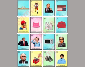 Political Loteria Card V12 - Anti-Trump Greeting Card Art - Donation to ACLU