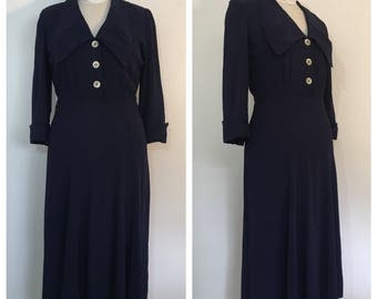 Vintage 1940's Navy Blue Dress with Wide Collar