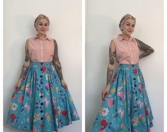Vintage 1950's Teal Novelty Fruit Skirt