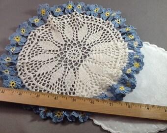 2 Vintage Doilies for Miniature Tablecloths